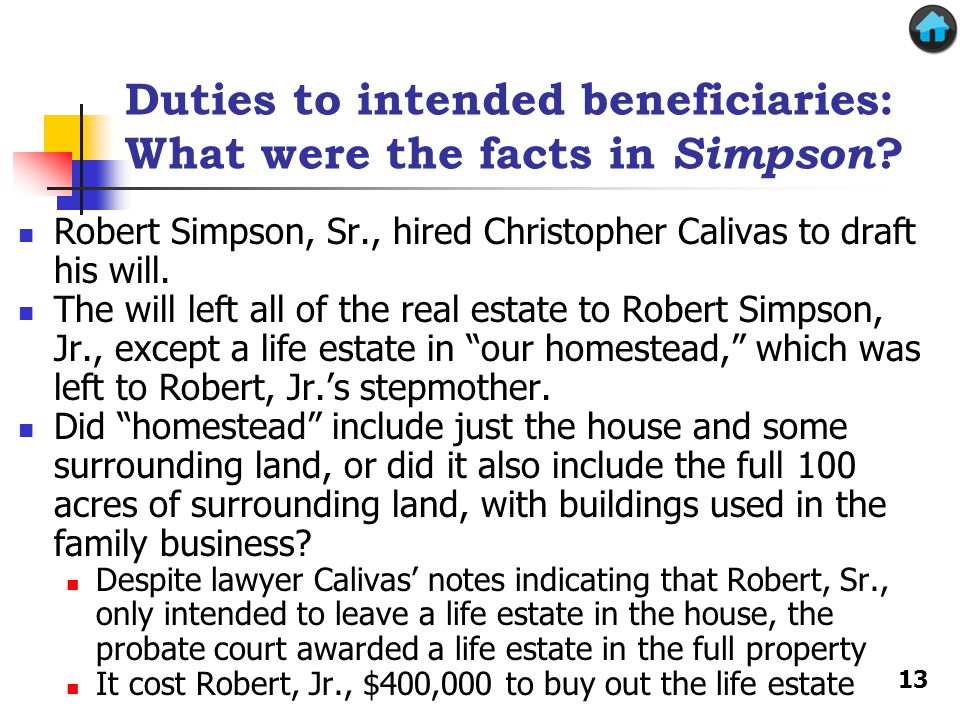 Duties to intended beneficiaries: What were the facts in Simpson .