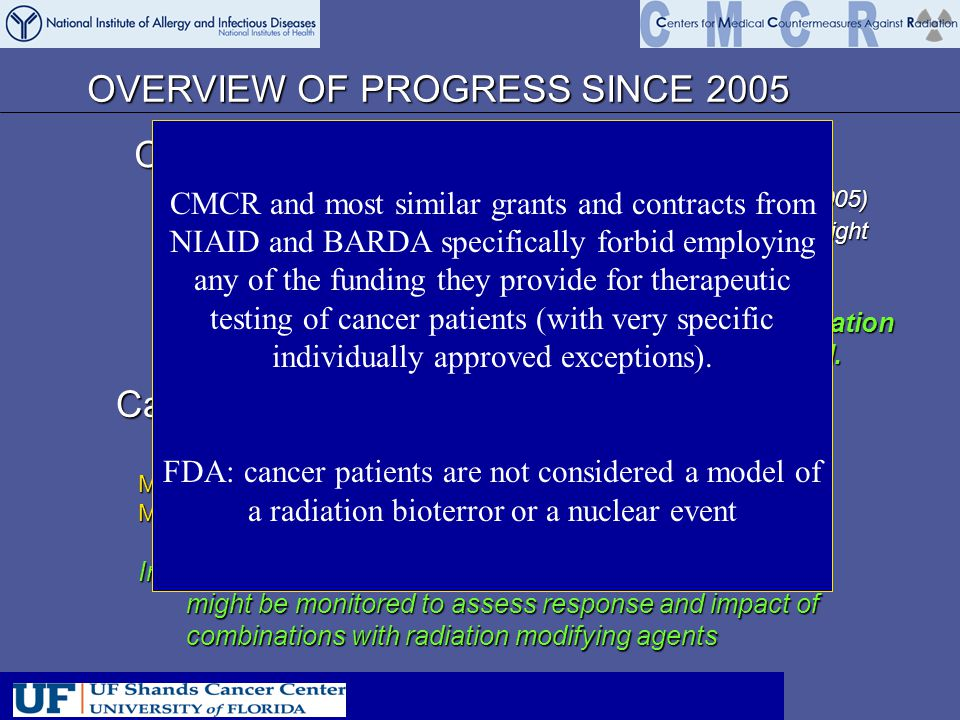 OVERVIEW OF PROGRESS SINCE 2005 Can radiation side effects be mitigated.
