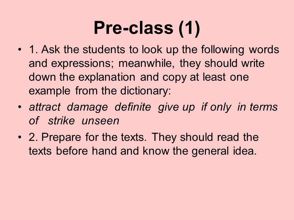 Lesson Fifteen Pre-class In-class After-class