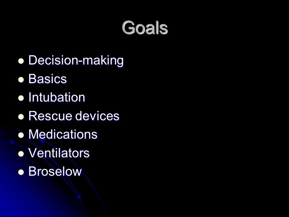 Goals Decision-making Decision-making Basics Basics Intubation Intubation Rescue devices Rescue devices Medications Medications Ventilators Ventilator