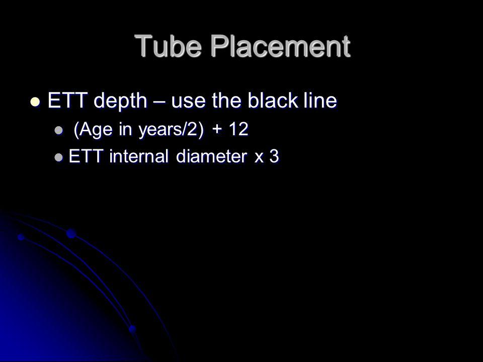 Tube Placement ETT depth – use the black line ETT depth – use the black line (Age in years/2) + 12 (Age in years/2) + 12 ETT internal diameter x 3 ETT