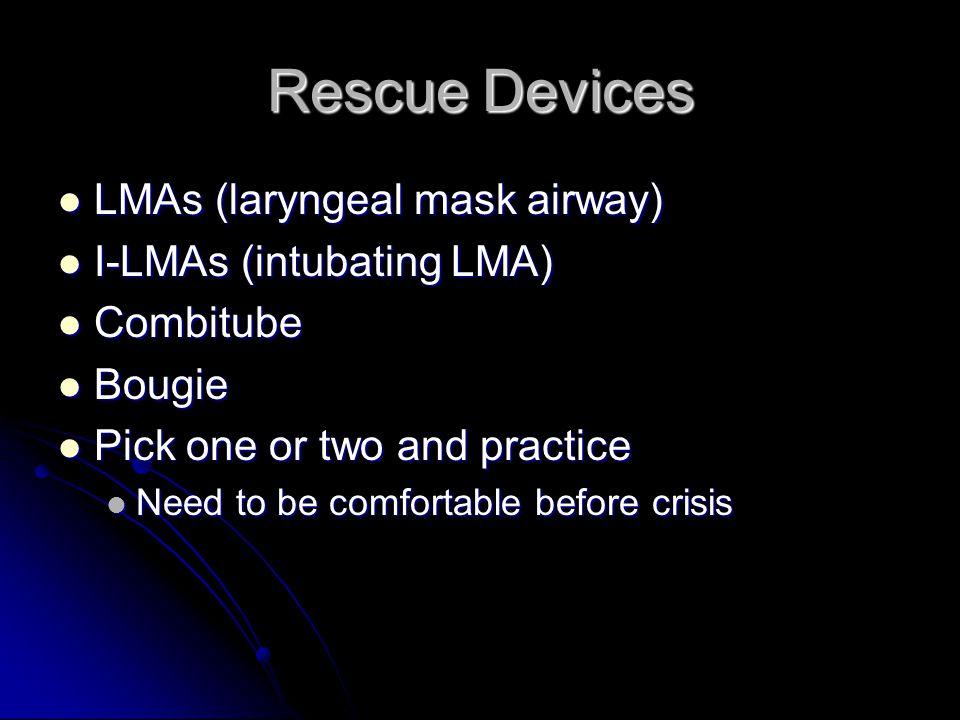 Rescue Devices LMAs (laryngeal mask airway) LMAs (laryngeal mask airway) I-LMAs (intubating LMA) I-LMAs (intubating LMA) Combitube Combitube Bougie Bo