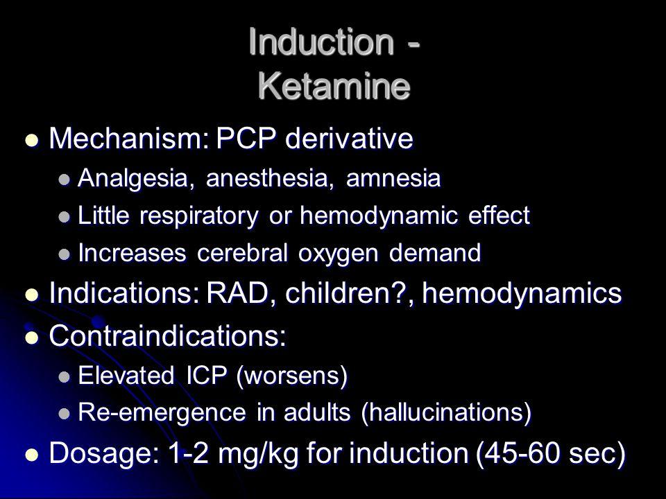 Induction - Ketamine Mechanism: PCP derivative Mechanism: PCP derivative Analgesia, anesthesia, amnesia Analgesia, anesthesia, amnesia Little respirat