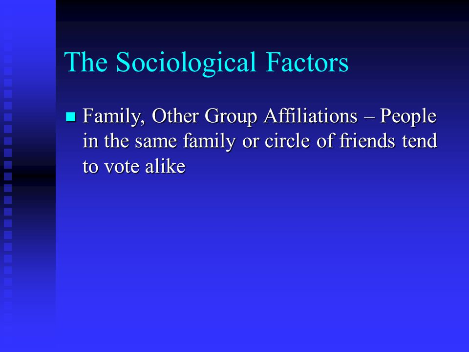 The Sociological Factors Family, Other Group Affiliations – People in the same family or circle of friends tend to vote alike Family, Other Group Affiliations – People in the same family or circle of friends tend to vote alike