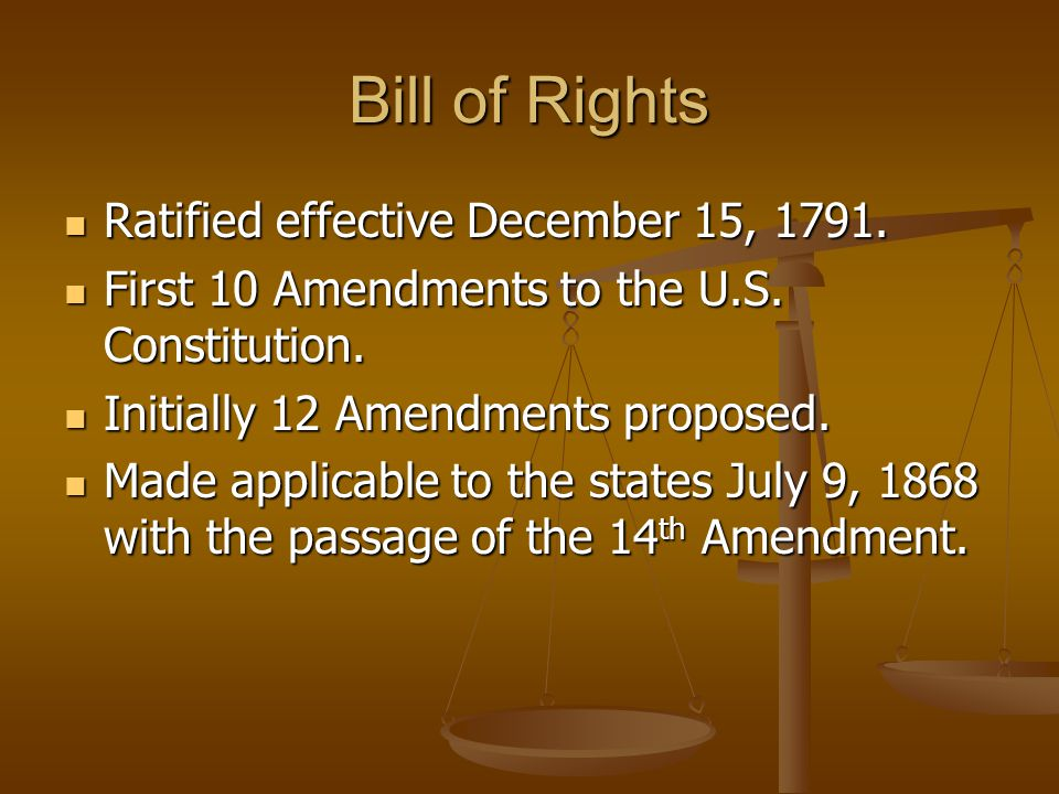 Bill of Rights Ratified effective December 15, 1791.