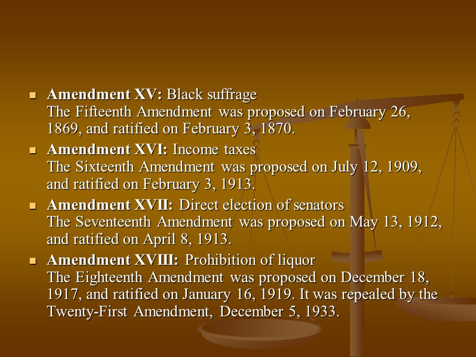 Amendment XV: Black suffrage The Fifteenth Amendment was proposed on February 26, 1869, and ratified on February 3, 1870. Amendment XV: Black suffrage