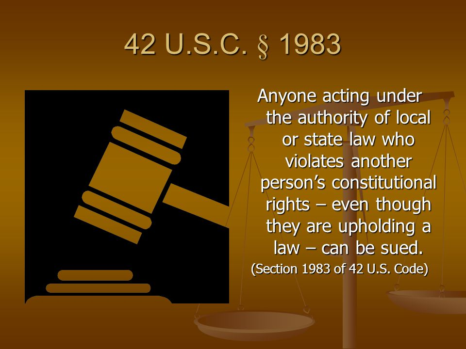 42 U.S.C. § 1983 Anyone acting under the authority of local or state law who violates another person's constitutional rights – even though they are up