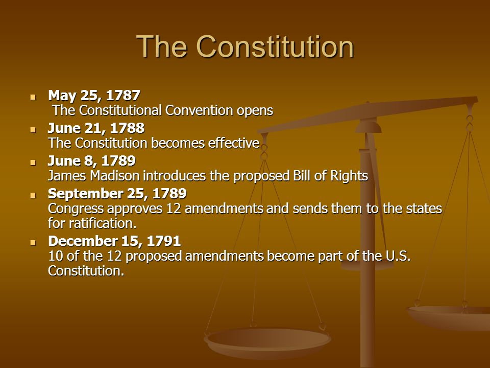 The Constitution May 25, 1787 The Constitutional Convention opens May 25, 1787 The Constitutional Convention opens June 21, 1788 The Constitution becomes effective June 21, 1788 The Constitution becomes effective June 8, 1789 James Madison introduces the proposed Bill of Rights June 8, 1789 James Madison introduces the proposed Bill of Rights September 25, 1789 Congress approves 12 amendments and sends them to the states for ratification.