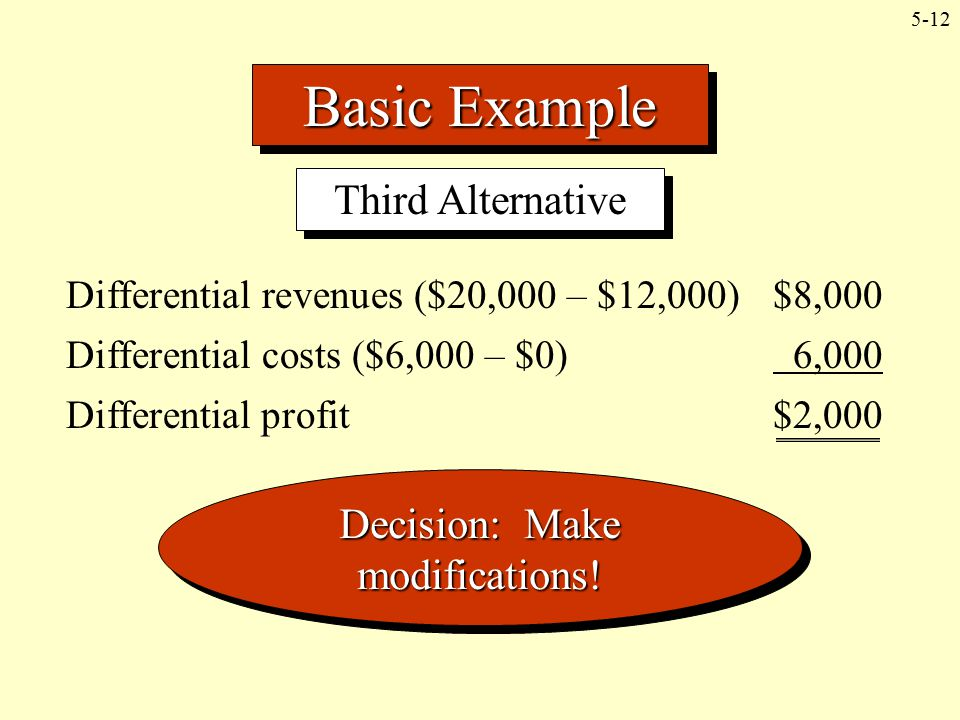 5-12 Basic Example Third Alternative Differential revenues ($20,000 – $12,000) $8,000 Differential costs ($6,000 – $0) 6,000 Differential profit$2,000