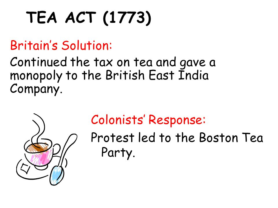 TEA ACT (1773) Britain's Solution: Continued the tax on tea and gave a monopoly to the British East India Company.