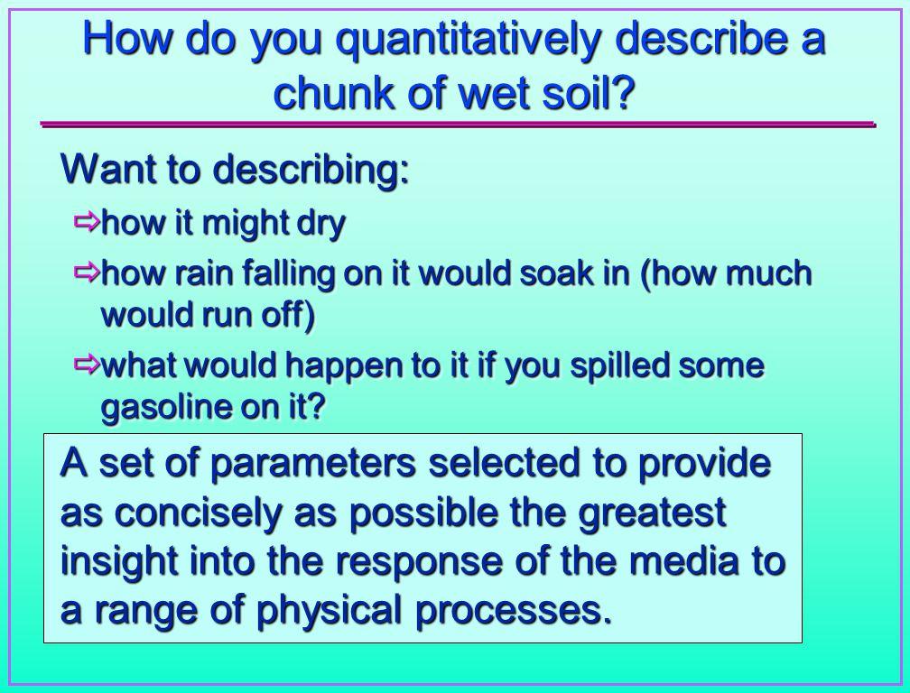 How do you quantitatively describe a chunk of wet soil.