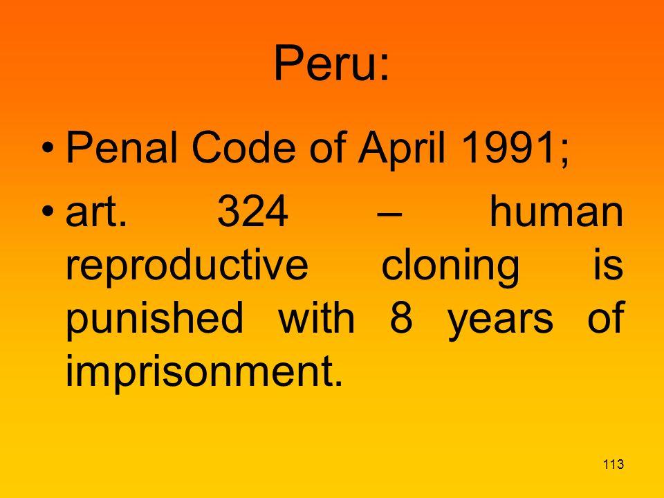 Peru: Penal Code of April 1991; art.