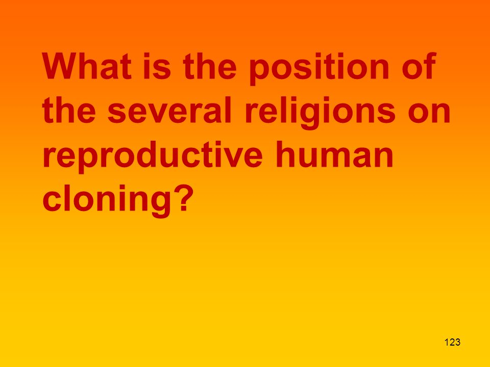 What is the position of the several religions on reproductive human cloning 123