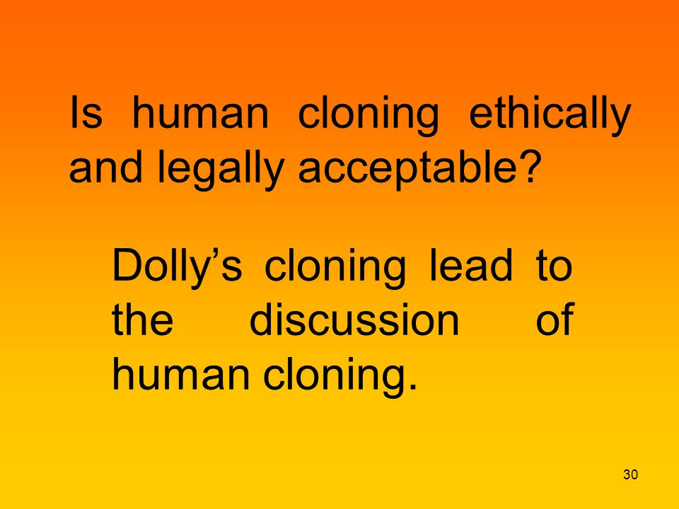 Is human cloning ethically and legally acceptable.