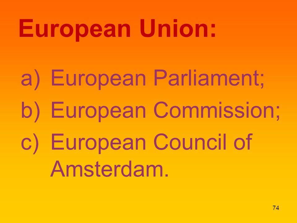 European Union: a)European Parliament; b)European Commission; c)European Council of Amsterdam. 74