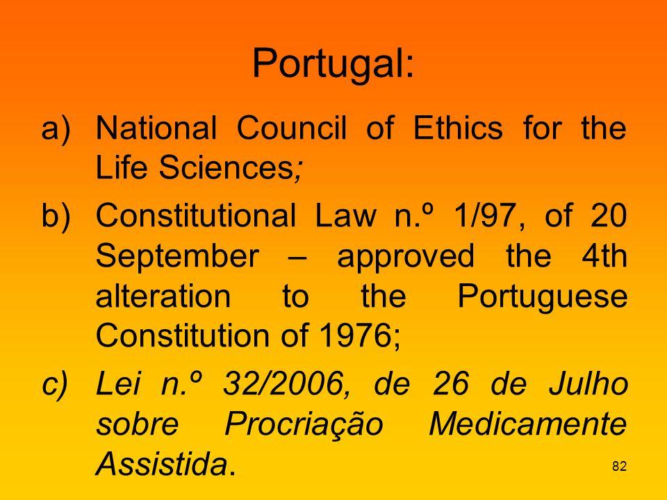 Portugal: a)National Council of Ethics for the Life Sciences; b)Constitutional Law n.º 1/97, of 20 September – approved the 4th alteration to the Portuguese Constitution of 1976; c)Lei n.º 32/2006, de 26 de Julho sobre Procriação Medicamente Assistida.