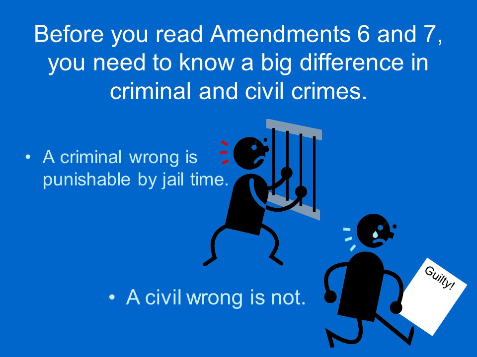 Amendment 6 gives a person in a criminal prosecution the right to a speedy trial by jury,