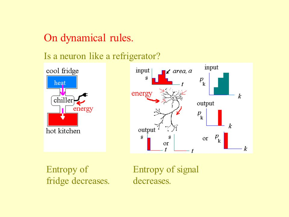 On dynamical rules.Is a neuron like a refrigerator.
