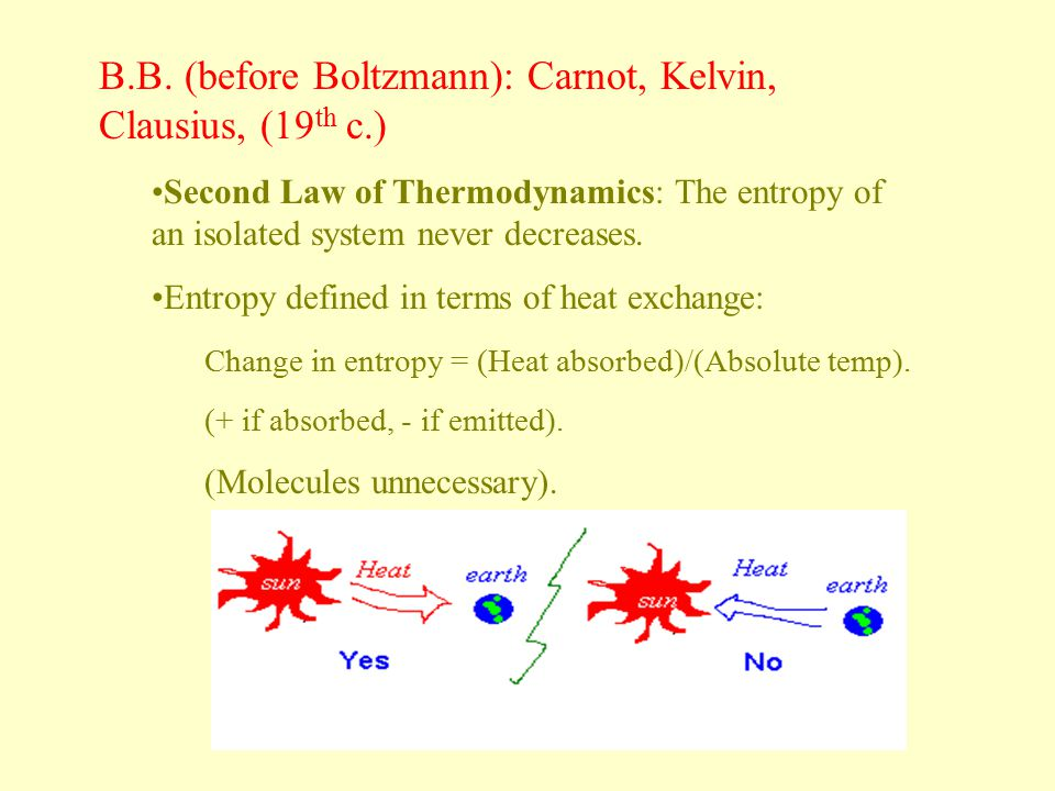 B.B. (before Boltzmann): Carnot, Kelvin, Clausius, (19 th c.) Second Law of Thermodynamics: The entropy of an isolated system never decreases. Entropy