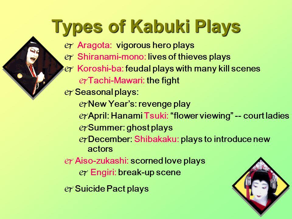 Types of Kabuki Plays  Aragota: vigorous hero plays  Shiranami-mono: lives of thieves plays  Koroshi-ba: feudal plays with many kill scenes  Tachi