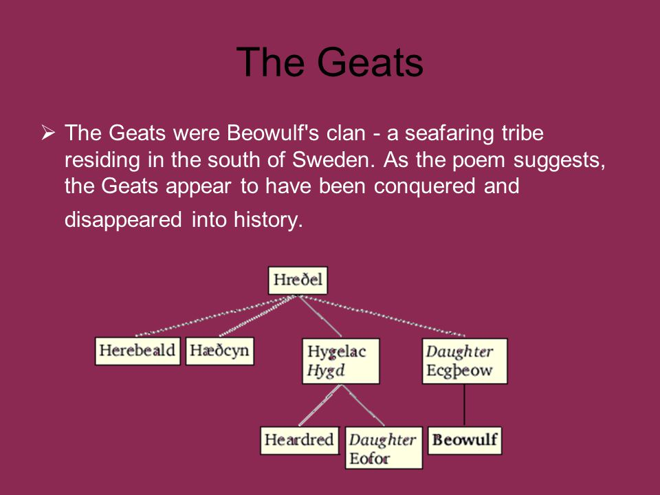The Geats  The Geats were Beowulf s clan - a seafaring tribe residing in the south of Sweden.