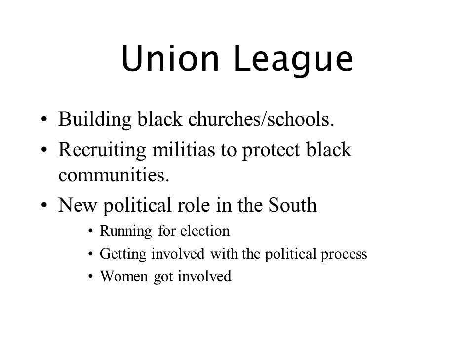 Union League Building black churches/schools. Recruiting militias to protect black communities.
