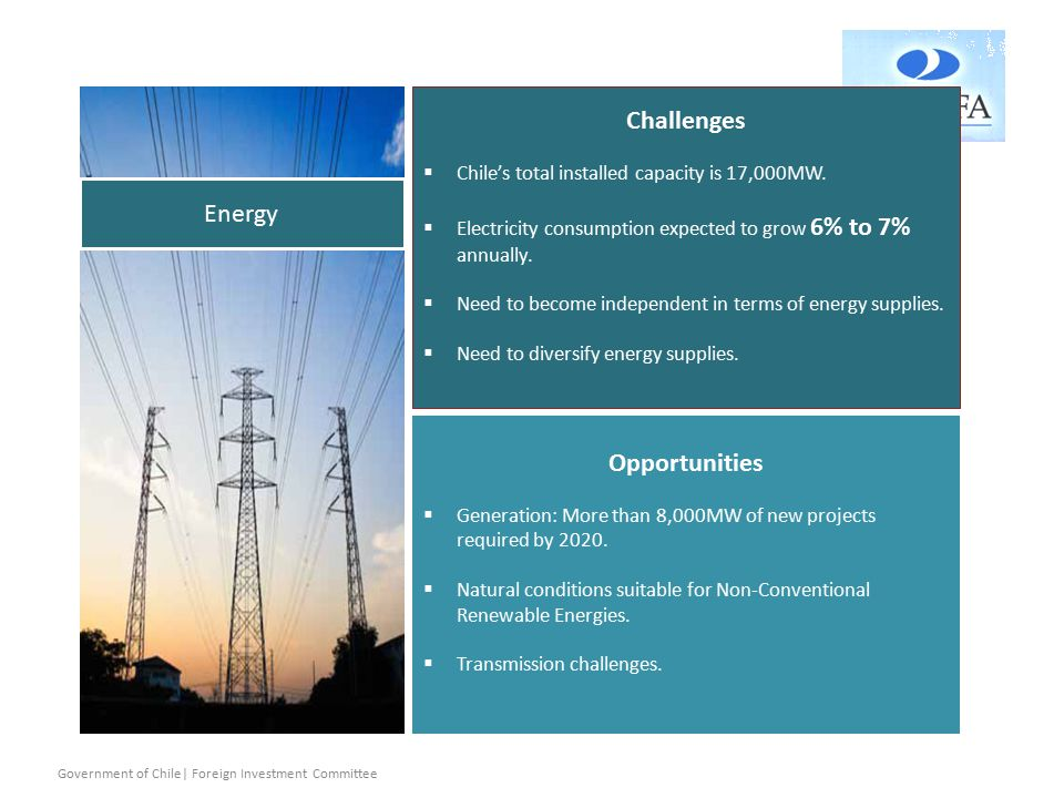 Challenges  Chile's total installed capacity is 17,000MW.