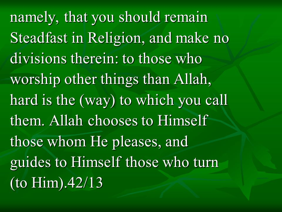 namely, that you should remain Steadfast in Religion, and make no divisions therein: to those who worship other things than Allah, hard is the (way) to which you call them.