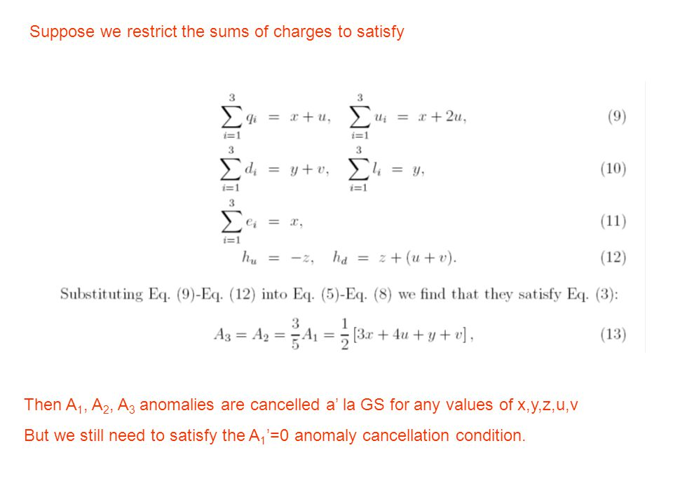 Suppose we restrict the sums of charges to satisfy Then A 1, A 2, A 3 anomalies are cancelled a' la GS for any values of x,y,z,u,v But we still need to satisfy the A 1 '=0 anomaly cancellation condition.
