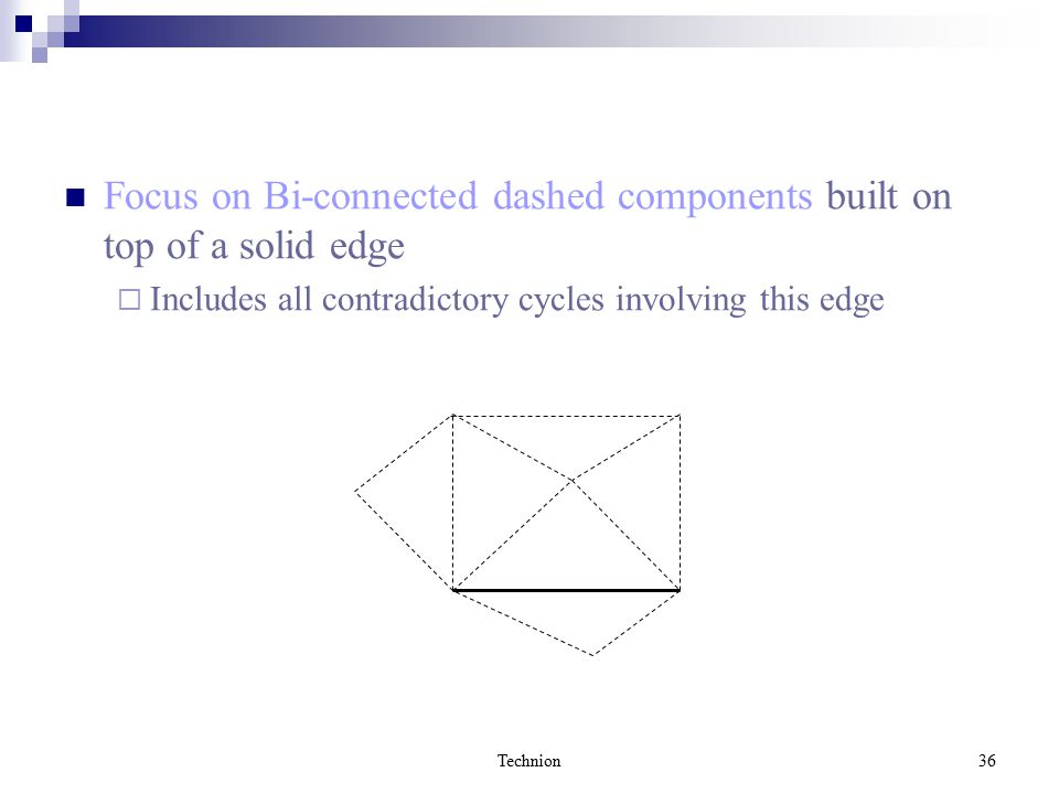 Technion36 Focus on Bi-connected dashed components built on top of a solid edge  Includes all contradictory cycles involving this edge