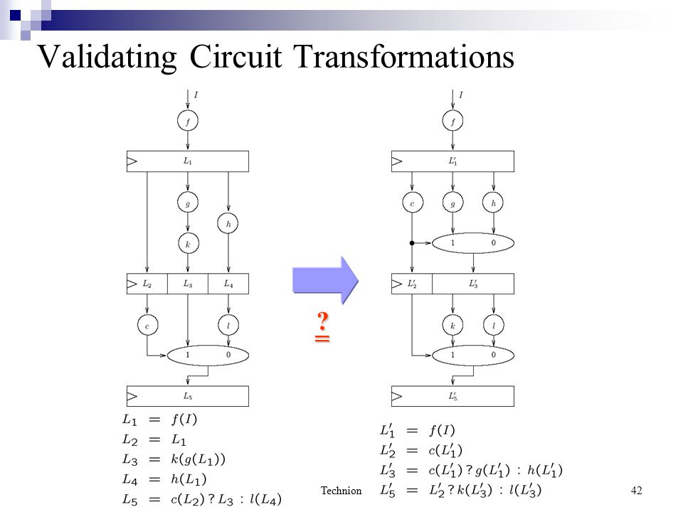 Technion42 Validating Circuit Transformations =