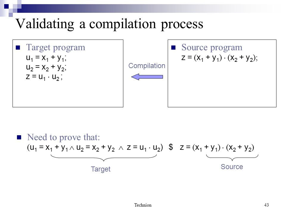 Technion43 Validating a compilation process Source program z = ( x 1 + y 1 )  ( x 2 + y 2 ); Target program u 1 = x 1 + y 1 ; u 2 = x 2 + y 2 ; z = u 1  u 2 ; Need to prove that: ( u 1 = x 1 + y 1  u 2 = x 2 + y 2  z = u 1  u 2 ) $ z = ( x 1 + y 1 )  ( x 2 + y 2 ) Compilation Target Source
