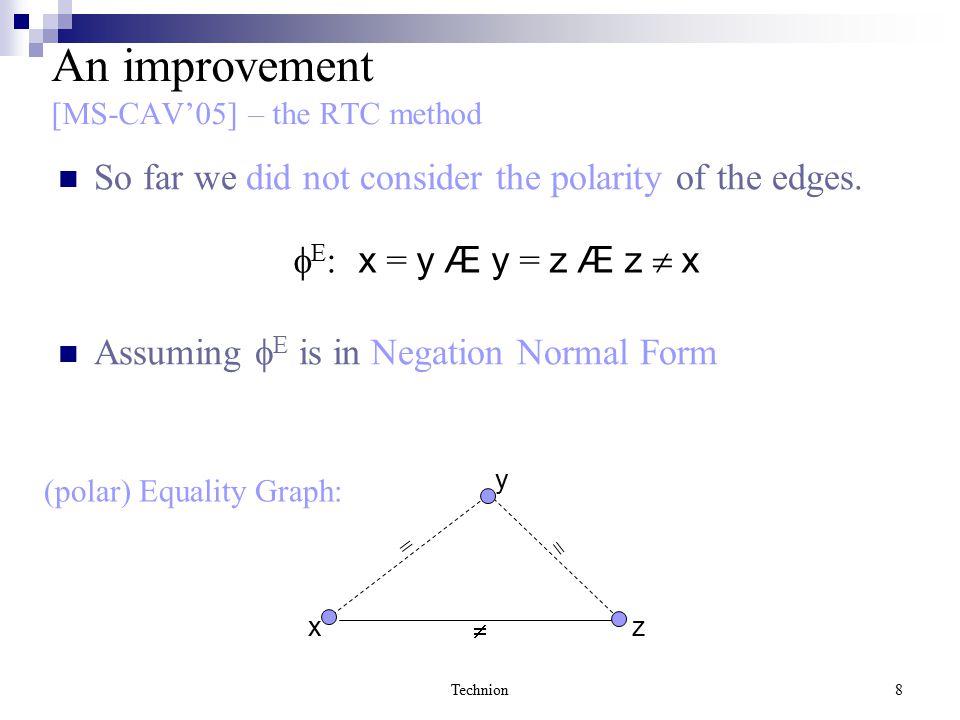 Technion8 An improvement [MS-CAV'05] – the RTC method So far we did not consider the polarity of the edges.