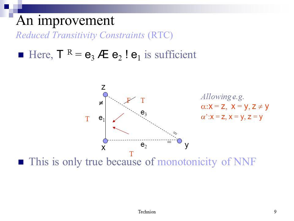 Technion50 Proof… Observation 1: The combination is impossible if  =  R (recall:  R ² T R ) Observation 2: if ( v 1, v 3 ) is solid, then F T T v1v1 v2v2 v3v3