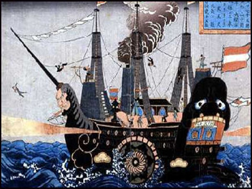 In 1853 - Commodore Matthew Perry carried a letter that demanded Japan open her ports to the US.