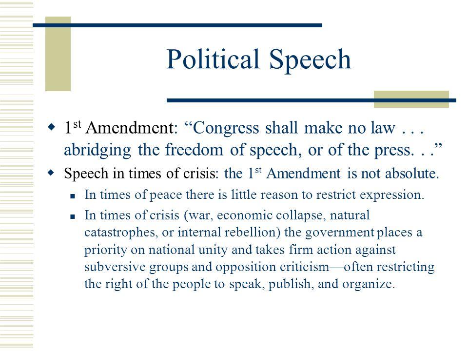 Political Speech  1 st Amendment: Congress shall make no law...