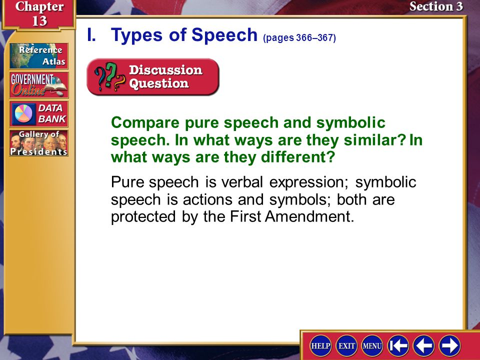 Section 3-3 Compare pure speech and symbolic speech.