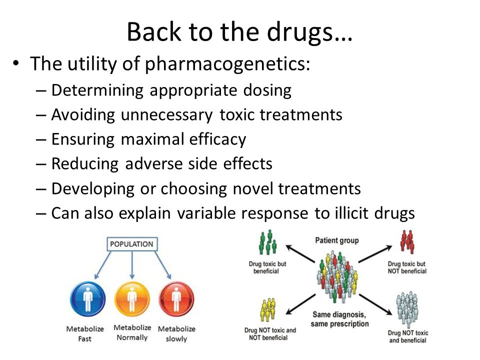 Back to the drugs… The utility of pharmacogenetics: – Determining appropriate dosing – Avoiding unnecessary toxic treatments – Ensuring maximal efficacy – Reducing adverse side effects – Developing or choosing novel treatments – Can also explain variable response to illicit drugs