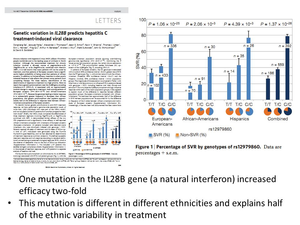 One mutation in the IL28B gene (a natural interferon) increased efficacy two-fold This mutation is different in different ethnicities and explains half of the ethnic variability in treatment