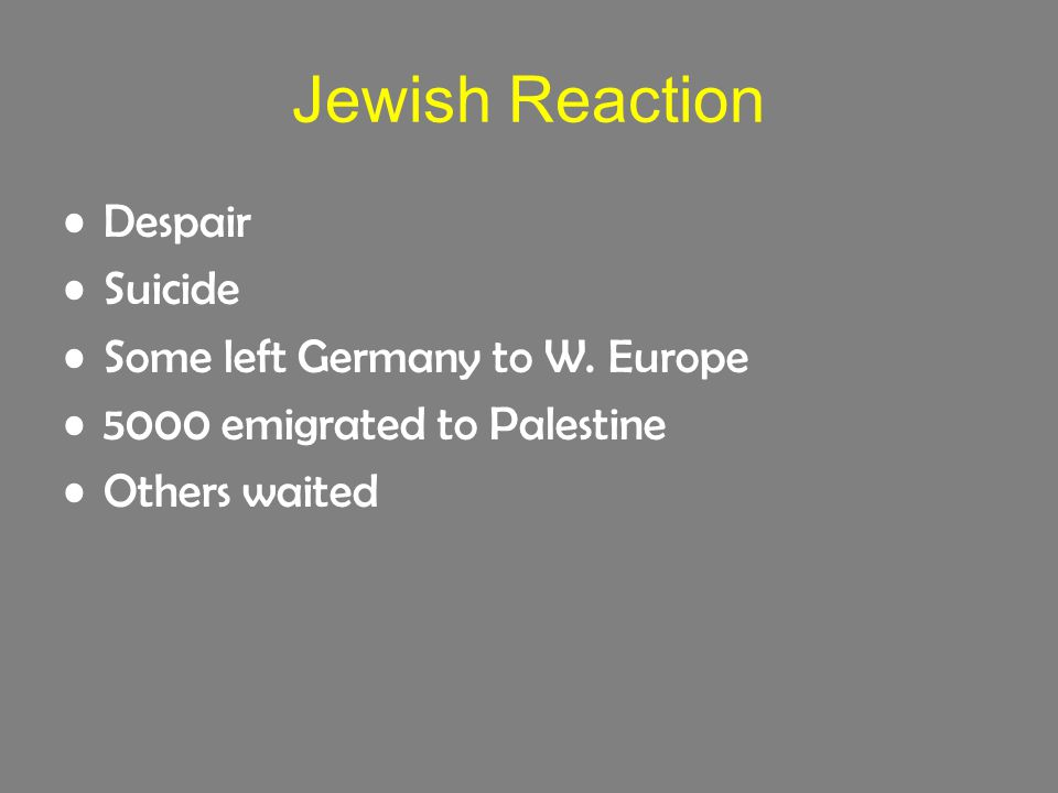 Jewish Reaction Despair Suicide Some left Germany to W.