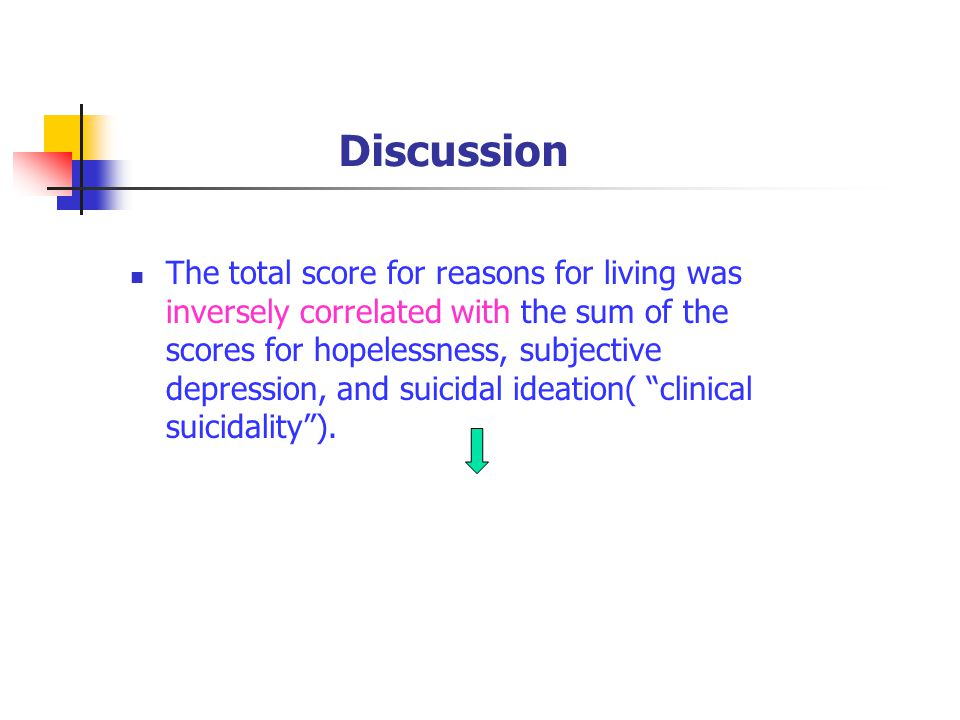 Discussion The total score for reasons for living was inversely correlated with the sum of the scores for hopelessness, subjective depression, and suicidal ideation( clinical suicidality ).