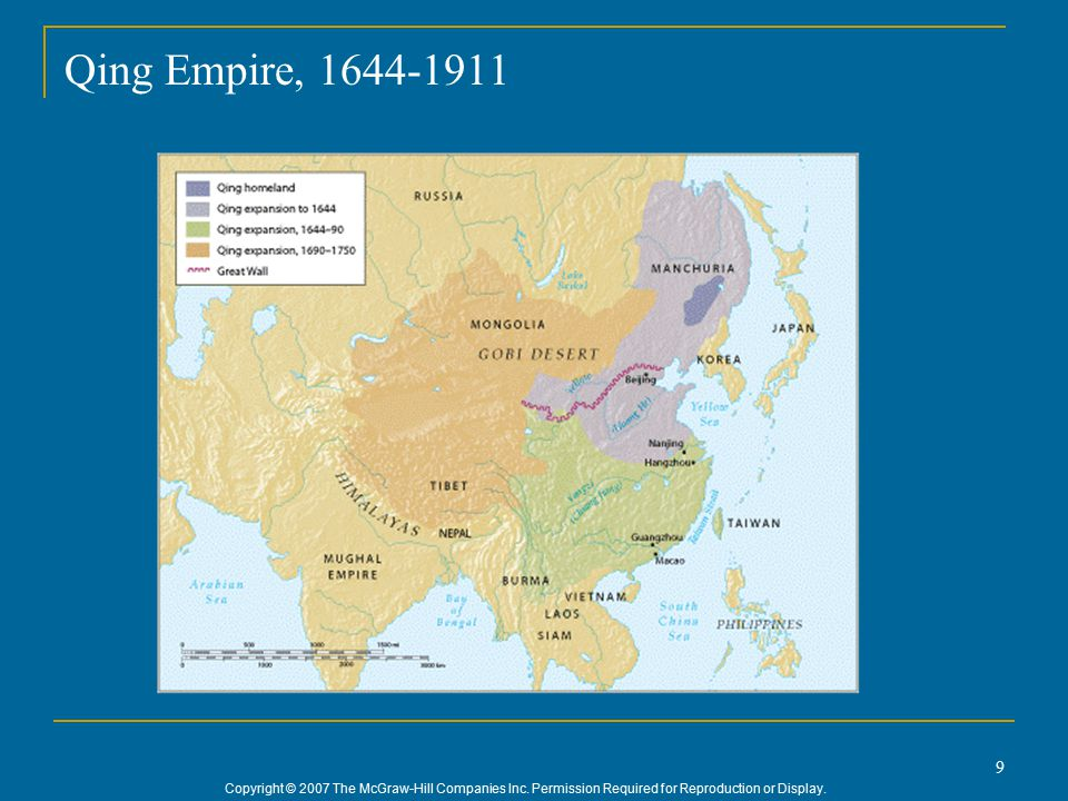 Copyright © 2007 The McGraw-Hill Companies Inc. Permission Required for Reproduction or Display. 9 Qing Empire, 1644-1911