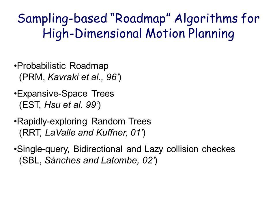 "Sampling-based ""Roadmap"" Algorithms for High-Dimensional Motion Planning Probabilistic Roadmap (PRM, Kavraki et al., 96') Expansive-Space Trees (EST,"
