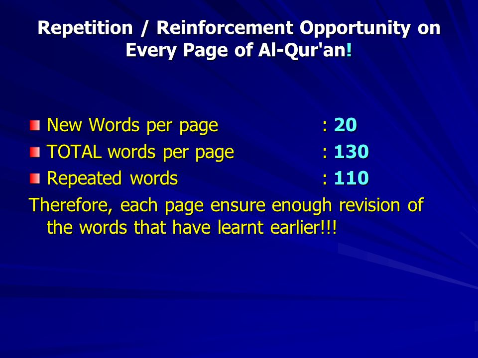 Repetition / Reinforcement Opportunity on Every Page of Al-Qur an.