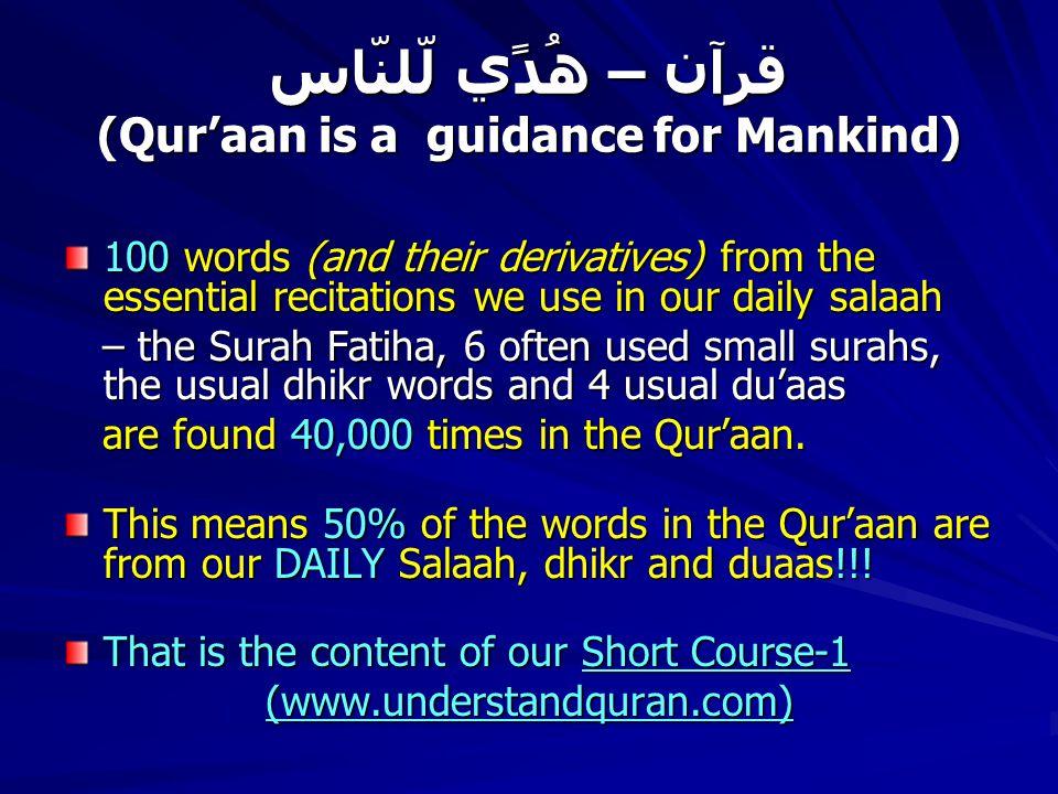 قرآن – ھُدًي لّلنّاس (Qur'aan is a guidance for Mankind) 100 words (and their derivatives) from the essential recitations we use in our daily salaah – the Surah Fatiha, 6 often used small surahs, the usual dhikr words and 4 usual du'aas – the Surah Fatiha, 6 often used small surahs, the usual dhikr words and 4 usual du'aas are found 40,000 times in the Qur'aan.