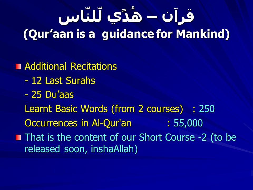 قرآن – ھُدًي لّلنّاس (Qur'aan is a guidance for Mankind) Additional Recitations - 12 Last Surahs - 25 Du'aas Learnt Basic Words (from 2 courses): 250 Occurrences in Al-Qur an: 55,000 That is the content of our Short Course -2 (to be released soon, inshaAllah)