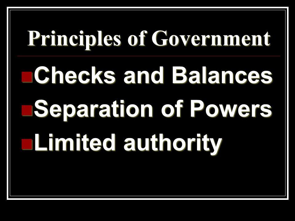 Principles of Government Checks and Balances Checks and Balances Separation of Powers Separation of Powers Limited authority Limited authority
