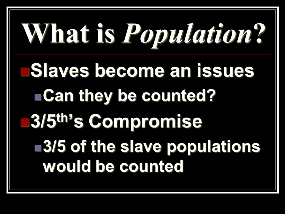 What is Population. Slaves become an issues Slaves become an issues Can they be counted.