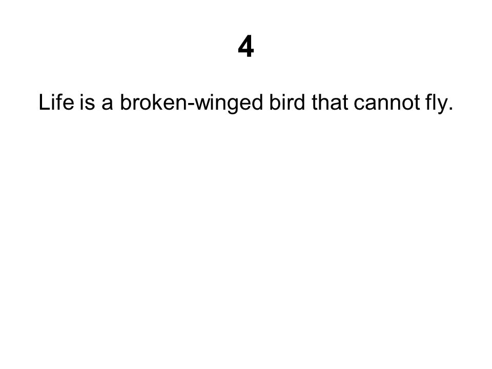 4 Life is a broken-winged bird that cannot fly.