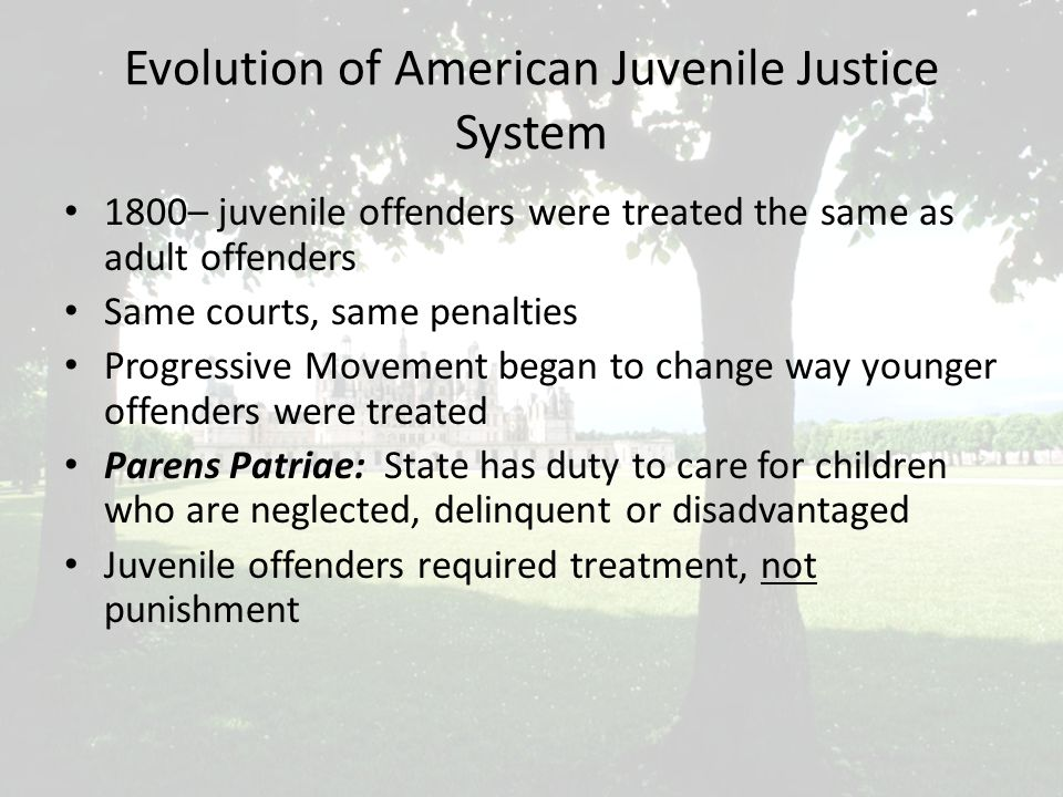 Evolution of American Juvenile Justice System 1800– juvenile offenders were treated the same as adult offenders Same courts, same penalties Progressive Movement began to change way younger offenders were treated Parens Patriae: State has duty to care for children who are neglected, delinquent or disadvantaged Juvenile offenders required treatment, not punishment